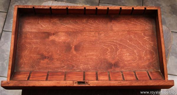 szkatułka na zegarki, Omega, Longines, Atlantic, zabytkowa szkatułka, renowacja szkatułki