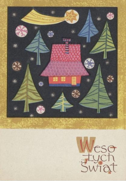 Urządzanie wnętrz Art Deco, kartka świąteczna, świeta w domu, Świąteczny Design, Lata 60
